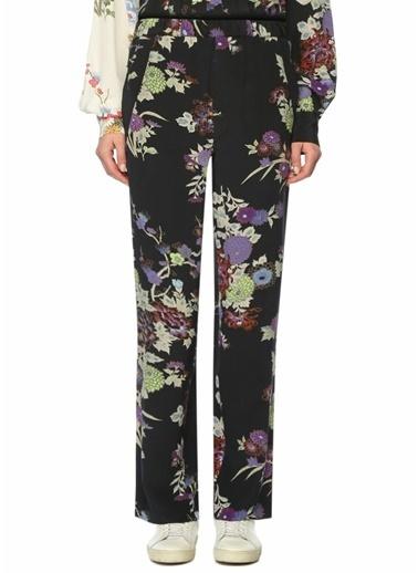 Etoile Isabel Marant Yüksek Bel Boru Paça Desenli Pantolon Siyah